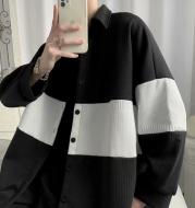 Fashion Men's Loose Stitching Woolen Coat