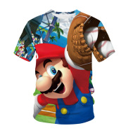 Mario Print Couple T-Shirt Cool Summer Casual Men's Short-Sleeved Top