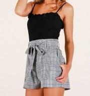 Ladies Plaid Elastic Belt Pocket Cotton Linen Shorts