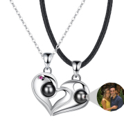925 Silver Heart-shaped Photo Projection Couple necklaces