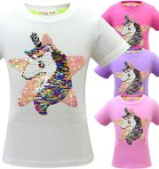 Unicorn Girl's T-shirt Children's Short Sleeve Cotton Five Pointed Star Double Sided Sequin