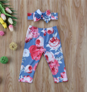 Spring And Summer Flower Print Basic Baby Pants
