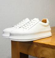 Platform Leather Women's White Shoes