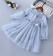 Spring Children's Mesh Dress Princess Long Sleeve Skirt
