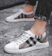 Breathable Check Cloth Board Shoes Youth Casual Shoes Men