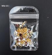 Fashion Nail Art Rivet Metal Chain Pearl Ornament