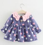 Girls Long Sleeve Print Double Collar Princess Tunic