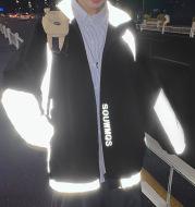 Men's Fashion Stand Collar Color Block Jacket Reflective Jacket