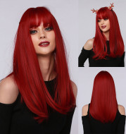 Red Brown Black Multicolor Qi Bangs Medium Length Straight Hair