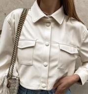 Lapel Single-Breasted Street Short Pu Leather Jacket
