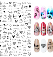 Summer Flowers and Love Adhesive Stickers Nail Art Stickers Foreign Trade Nail Stickers Nail Art Decals
