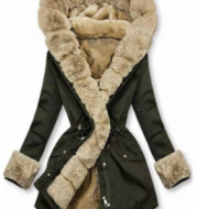 European And American Autumn And Winter Women's Warm Fur Collar Hooded Jacket