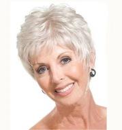 Aged Silver-White Diagonal Bangs Partial Short Hair