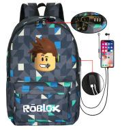 Printed LOGO Backpack Student School Bag USB Charging Backpack