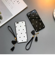 Love Dot Mobile Phone Case With Lanyard Glass Case
