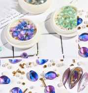 Nail Jewelry Mixed Crystal Pearl Steel Ball Rivet Mixed Shell Stone Jewelry