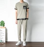 Fashion Men's Short-Sleeved Ice Silk Casual Sportswear Suit