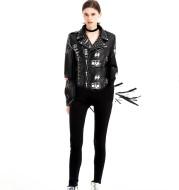 Graffiti Printed Rivet Slim Short Leather Jacket Women