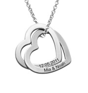 Personalized Love Heart Pendant Necklace Women Customized Name Engraving Necklace