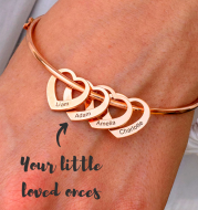Stainless Steel Bangle Letter Personalized Bracelets with Hearts Customized Engraved Names Bracelets