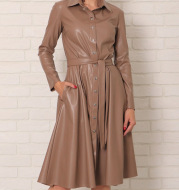 Ladies Long Sleeve Lapel Collar PU Leather Skirt A-line Button Belt Dress