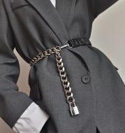 Belt Female Chain Stitching Elastic Waist With Skirt Girdle All-Match Metal Elastic