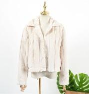 Loose Striped Short Coat In Imitation Mink Fur