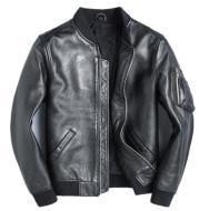 New Black Leather Leather Men's Baseball Uniform Short
