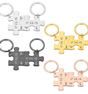 Couple Keychain Gifts Engraving Stainless Steel Couple Puzzle Key Ring