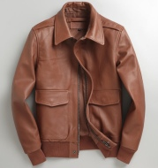 Genuine Leather Men's Casual Youth Short Slim-fit Leather Jacket