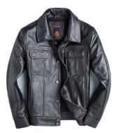 Top Layer Cowhide Leather Leather Jacket Men's Short Slim Leather Jacket Jacket