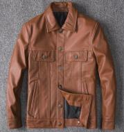 Top Layer Cowhide Leather Single-Breasted Men's Lapel Jacket Leather Jacket
