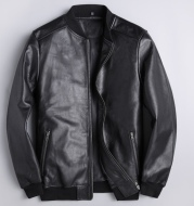 Spring Leather Men's Slim Stand Collar Leather Jacket