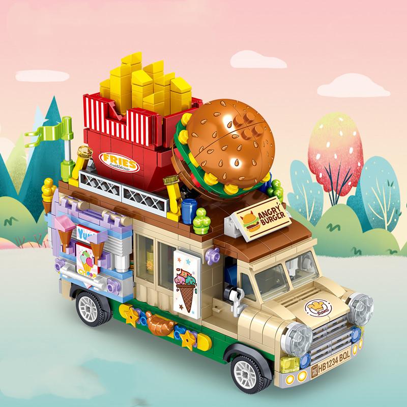 City Creator Mini Bricks Hamburg Ice Cream Dessert Car Figurine Model Vehicle  Education Building Blocks Toys For Children Gifts