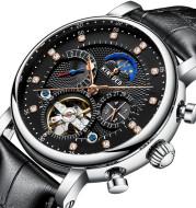 Automatic Fashion Leather Diamond Star Men's Tourbillon Hollow Mechanical Watch