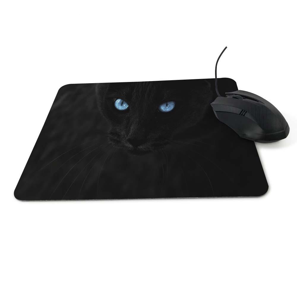 Tapis de souris chat noir aux yeux bleus