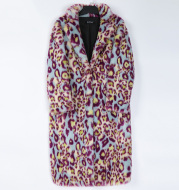Women's Fashion Leopard Fur Coat