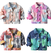 Children's Multicolor Tie-Dyed Denim Jacket With Lapels And Long Sleeves