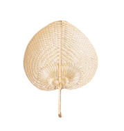 Hand Woven Bamboo Fan With Peach Shape For Enjoying Cool