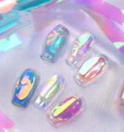 Aurora Ice Cube Cellophane Nail Decoration Box