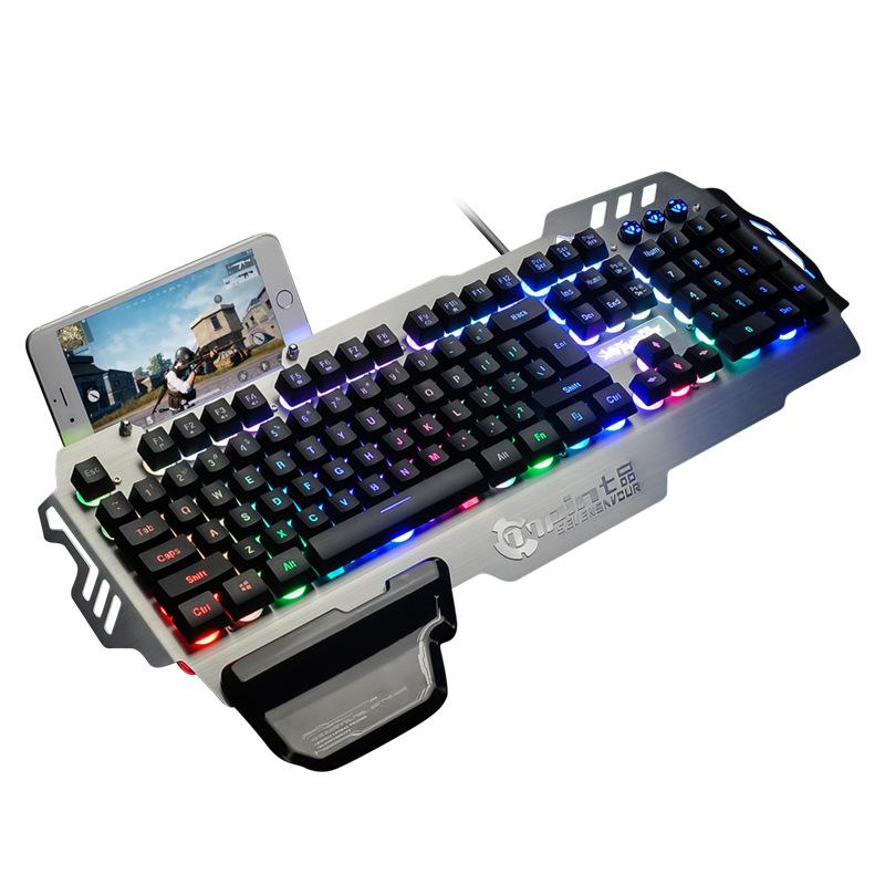 USB Colorful Backlit Gaming Waterproof Keyboard 104 Keys
