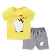 Children's Short-sleeved T-shirt Suit Cotton Baby Home Service