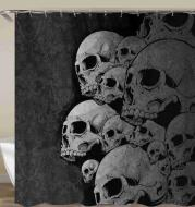 Skull Pattern Waterproof Shower Curtain Art Halloween Decoration Bathroom Curtain