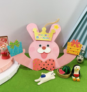Three-Dimensional Music Card Pink Rabbit Birthday Gift