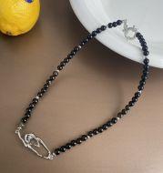 Black Natural Stone Pearl Splicing Irregular Clavicle Chain