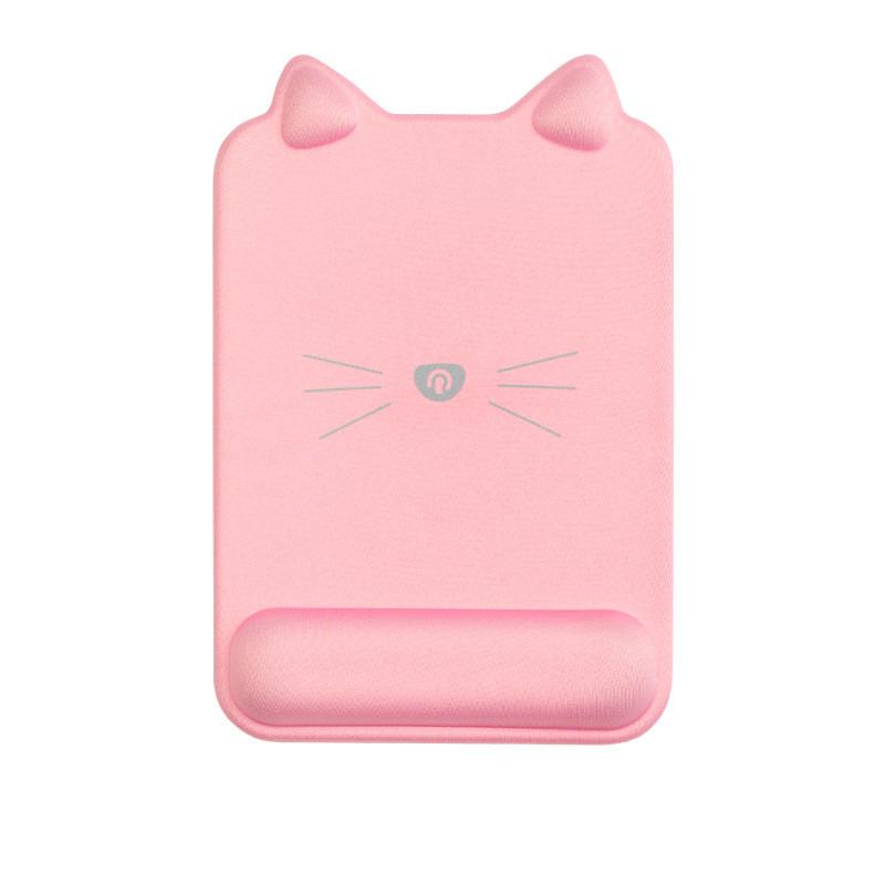 Tapis de souris ergonomique forme de chat avec repose-poignet couleur rose grande taille