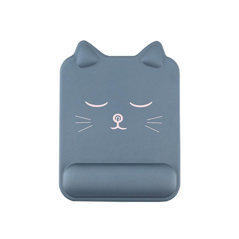 Tapis de souris ergonomique forme de chat avec repose-poignet couleur bleu