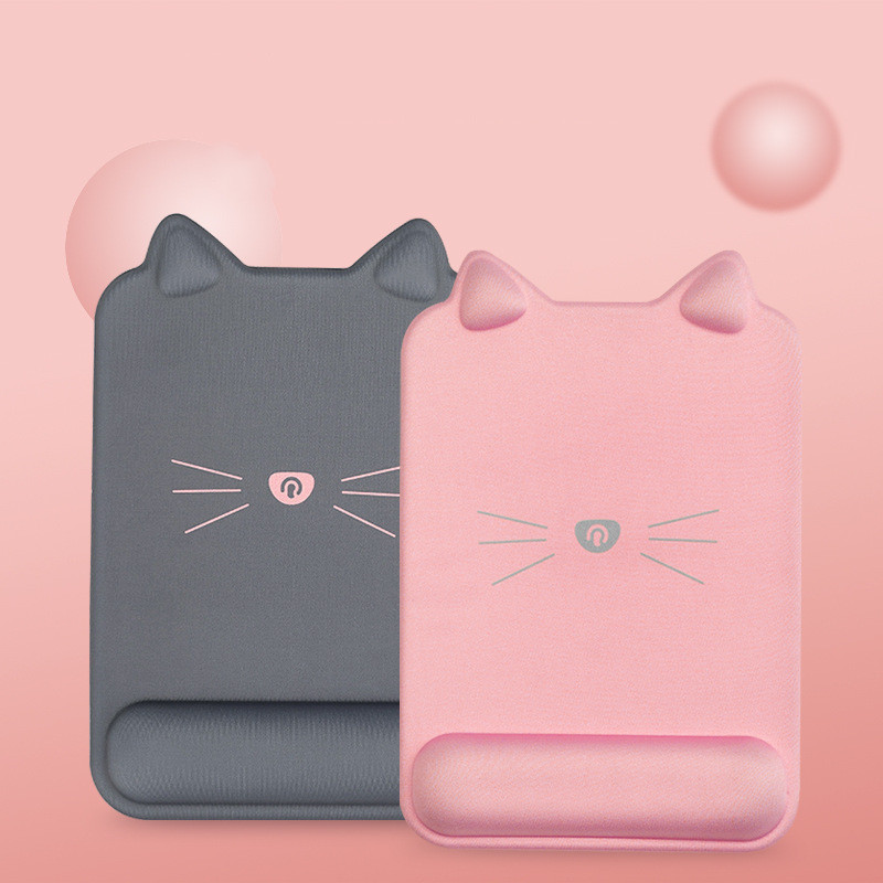 Tapis de souris ergonomique forme de chat avec repose-poignet grande taille
