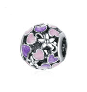 Silver Charm Drop Oil Purple Love Hollow 925 Silver Beads Valentine's Day Gift