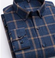 Cotton Plaid Shirt Men's Long-Sleeved Cotton Fleece Shirt